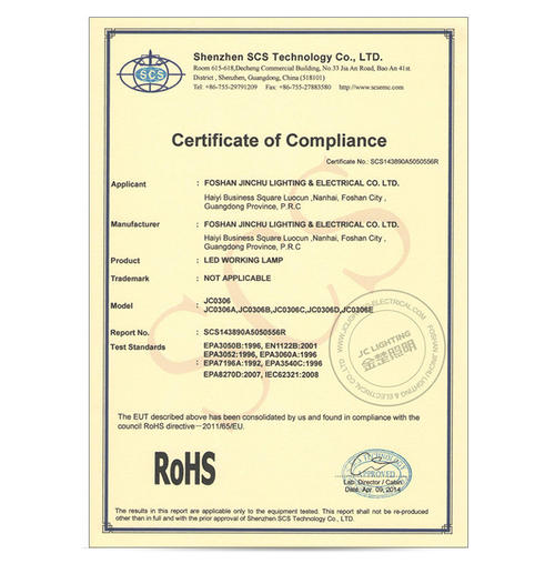 RoSH Certificate 2- LED Work Light