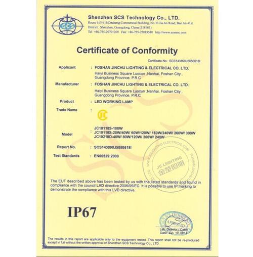 IP67 Certificate -LED Work Light